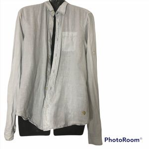 Scotch & Soda 100% linen button down collared casual shirt in very light blue